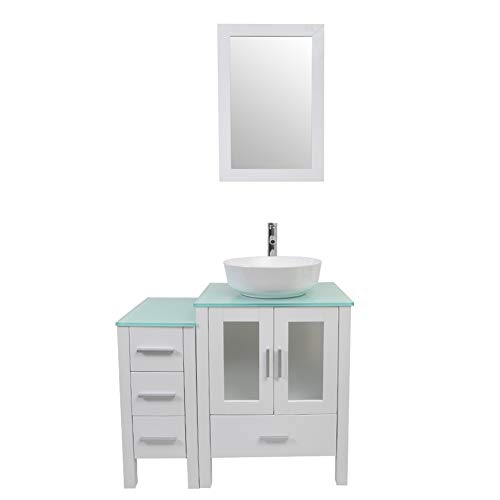 (Tonyrena 36 inch Bathroom Vanity in White with Mirror and Tempered Glass Countertop,Include White Round Vessel Sink set )