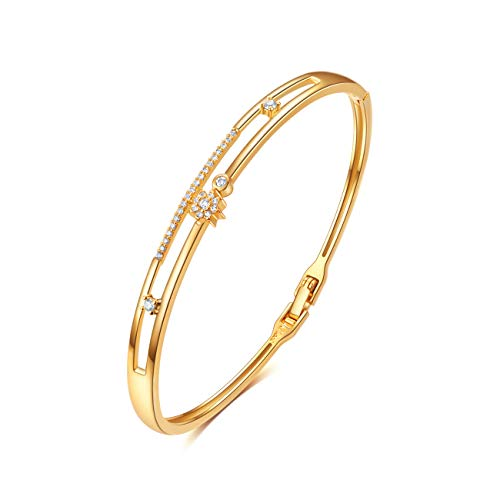 E Jewelry 18K Real Gold Plated Bangle Bracelets for Women Teen Girls, Women's Dainty Cuff Bracelet Set with Star Design, Fashion Gold Bangles CZ Gemstone Weddings Birthday Gifts (18K Gold Plated) ()