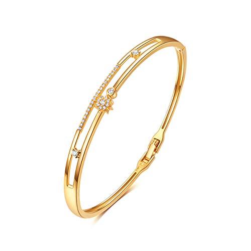 E Jewelry 18K Real Gold Plated Bangle Bracelets for Women Teen Girls, Women's Dainty Gold Bangles with Star Design, Fashion Filigree Bracelet CZ Gemstone Weddings Birthday Gifts (18K Gold Plated)