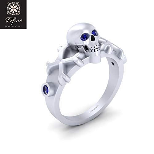 Blue Diamond Eyes Gothic Pirates Skull Engagement Ring Womens Solid 18k White Gold