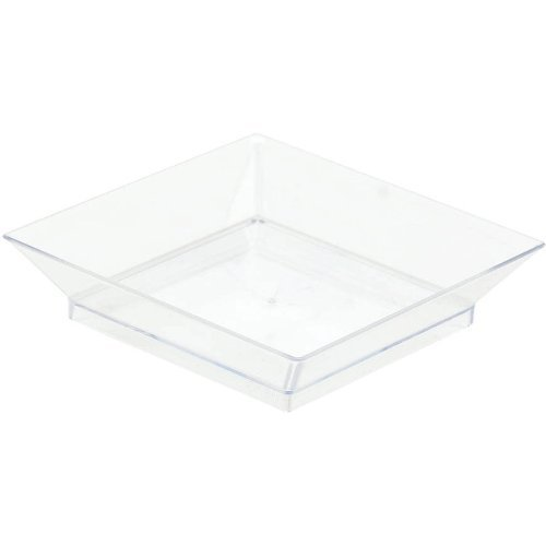 Amscan Perfect Reusable Mini Appetizer Square Clear Plastic 3'' x 3'' Pack 10 Childrens Party Plates (120 Piece)