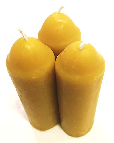 Beeswax Candles for Candle Lantern - 3 Pack, 36 Hours - 100% Pure Bees Wax - 12 Hours Each - All Natural Honey Bee Scented