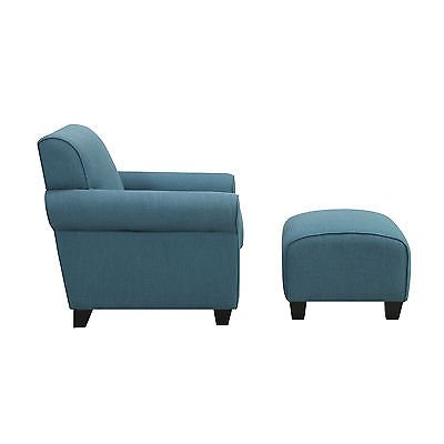 Delicieux Portfolio Mira Caribbean Blue Linen Arm Chair And Ottoman