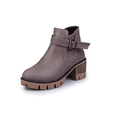 IGEMY Women Platform High Heel Single Shoes Vintage Women Boots Martin Boots Gray