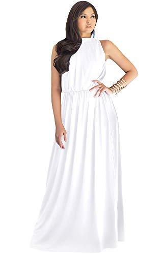 KOH KOH Womens Long Sexy Sleeveless Bridesmaid Halter Neck Wedding Party Guest Summer Flowy Casual Brides Formal Evening A-line Gown Gowns Maxi Dress Dresses, Ivory White M 8-10