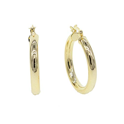 Platinum Polished Earring - Thick Smooth Hoop Earrings for Women | High Polished Ear Pin Earrings | Gold Color Gorgeous Fashion Classic Jewelry for Women (Platinum Plated)