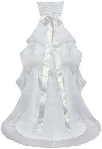 Fourmis Organza Occasionnel Des Femmes Haut Bas Des Robes De Mariage Robe De Mariée Blanche D