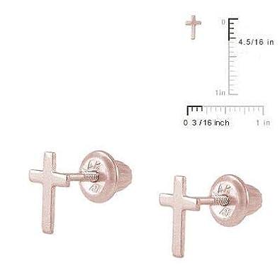 14K Gold Or Silver Cross Screw Back Stud Earrings for Girls Loveivy cegma-wg38 Kids Jewelry