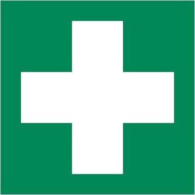 Lot de 2/autocollants caract/ères de sauvetage Vert avec croix Blanc pour premi/ère aide einrichtungen 10/x 10/cm