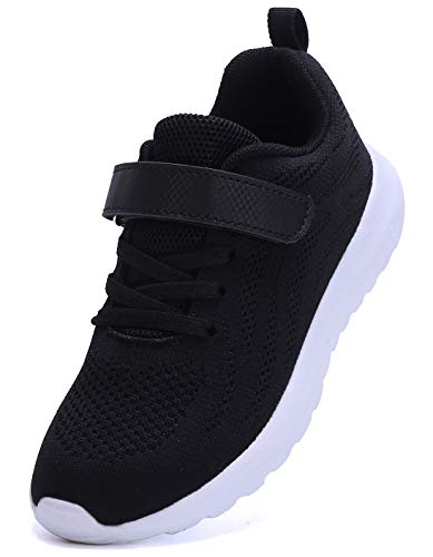 4876e2efabea adituo Boy Girl Lightweight Breathable Sneakers Strap Athletic Running  Shoes Black28