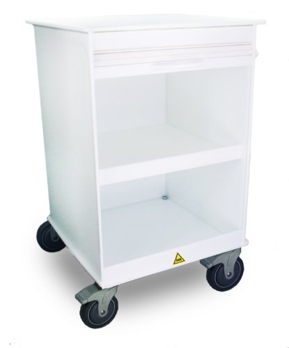 TrippNT 51820 White Small MRI Polyethylene Lab Cabinet Cart, Lockable, 24