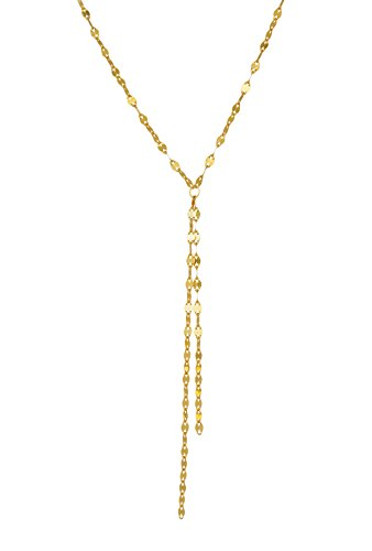 Gold over 925 Sterling Silver Tassel Y Necklace Lariat in Shimmery