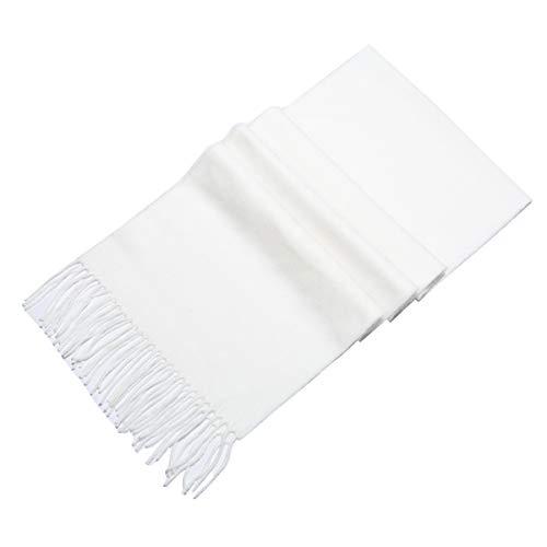 Lucky Leaf Women Men Winter Cozy Wool Warm Tartan Checked Plaid Wrap Scarf with Gift Box (P-White) (Wool White Scarf)