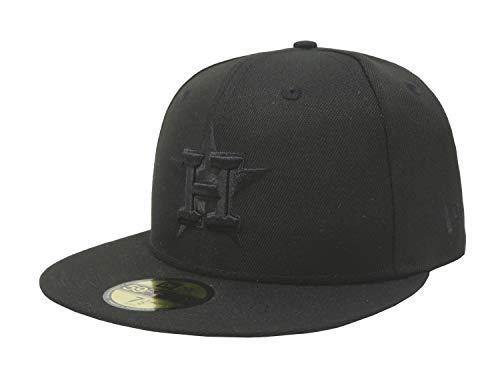 New Era 59Fifty Hat MLB Houston Astros Black On Black Fitted Cap 11591155 (7 1/8) (Astros Fitted Houston Hats)