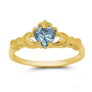 9MM Gold Plated Sterling Silver Blue Simulated Aquamarine ROYAL HEART Claddagh Ring 4-10