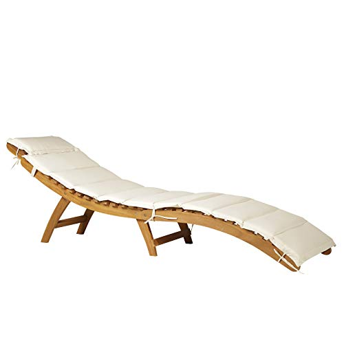Outsunny Acacia Wood Folding Outdoor Chaise Lounge Sunlounger Chair with Cushion Pad