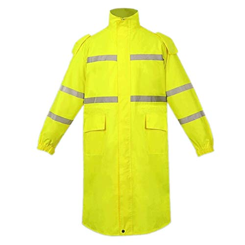 Diyun Reflective Raincoat Fluorescent Yellow Traffic Men and Women Outdoor Sanitation Long Waterproof Breathable - (7 Size Options) (Size : L) ()