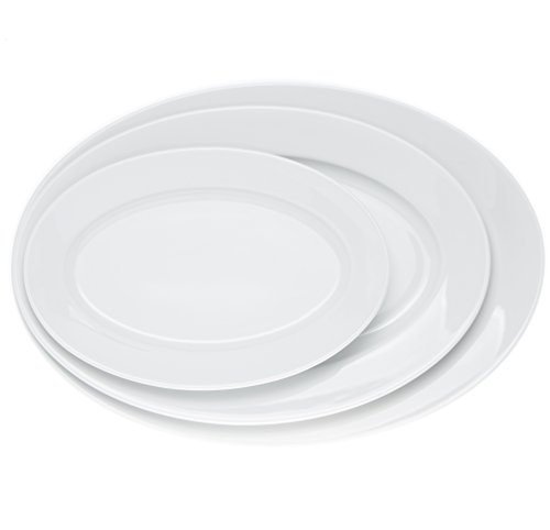 (Oval 3 Pieces Serving/Dinner Platters - Dinner Plates Set - Trays for Parties (3 size), From Real Durable White Porcelain, Restaurant&Hotel Quality)