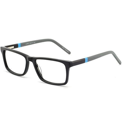 Fashion Rectangle Eyewear Frame Non Prescription Glasses Clear Lens Eyeglasses (Black+brown) For Women and Men ()