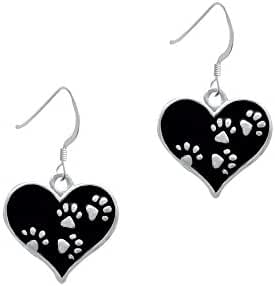Heart with Paw Prints French Earrings