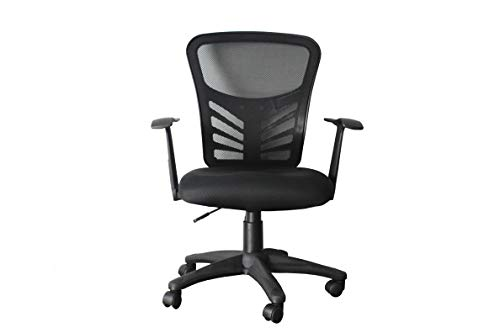 (Hercke Deluxe Mesh Back Ergonomic Lumbar Support Single-Function Adjustable Office Chair - 360 Degree Swivel 330lb Capacity Black with Two-Tone Heavy Duty Base - Breathable Sponge Seat Cushion )