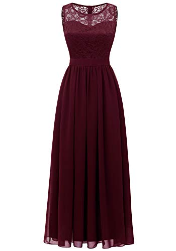 - Dressystar 0046 Lace Chiffon Bridesmaid Dress Sleeveless Formal Wedding Party Dress Burgundy S