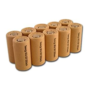 Box of 10 NiCd SubC 2200mAh Rechargeable battery Flat Top Paper Wrapped