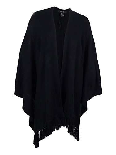 Style & Co. Womens Plus Fringed Open Front Wrap Sweater Black 2X/3X