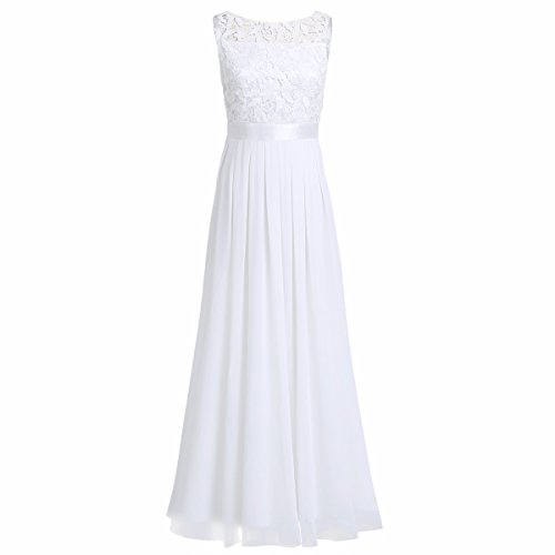Floral FEESHOW Appliques Dress Long Lace White Wedding Women's Evening Chiffon Gowns Prom Bridesmaid AqqB5Twn