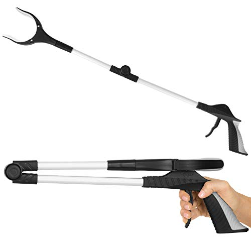 "Vive Folding Reacher Grabber 32"" - Extra Reach Extender - Heavy Duty Mobility Grip Hand Aid - Extra Long Handled Shelf Tool - Trash Litter Picker, Garbage Garden Nabber Handle, Disabled Handicap Arm"