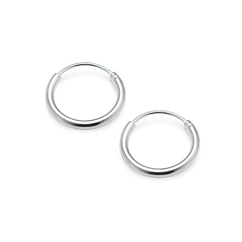 Sterling Silver Small Polished Endless Hoop Earrings 1.2mm x 10mm Assorted Colors