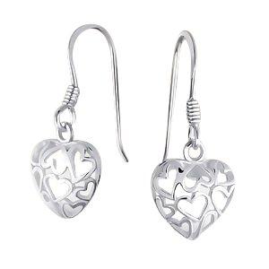 Sterling Silver Filigree Heart Drop Earrings Dangling Celtic Fish Hook Posts Dangling Heart Post Earrings