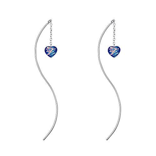 (BriLove 925 Sterling Silver Threader Earrings Bohemian Boho Curved Pin Glitter Crystal Women Earrings Sapphire Color AB Heart Shape)