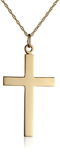 Men's 14k Yellow Gold Solid Polished Cross Necklace with ...