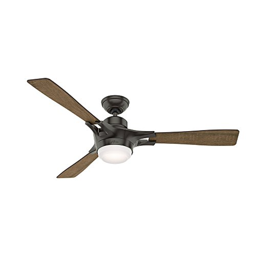 Bronze Functional Fan Light - Hunter 59379 Signal Ceiling Fan with Light with Integrated Control System, 54-inch, Noble Bronze, Works with Alexa