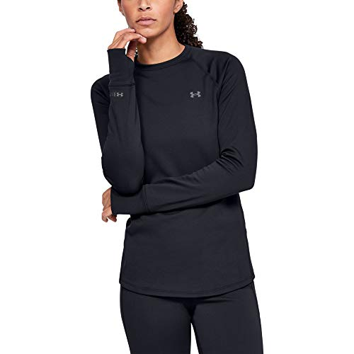 Under Armour Outerwear Womens Base Crew 3.0, Black (001)/Pitch Gray, Large (Under Armour Womens 3 4 Sleeve)