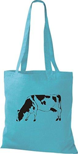 Krokodil - Bolso de tela de algodón para mujer azul - sky
