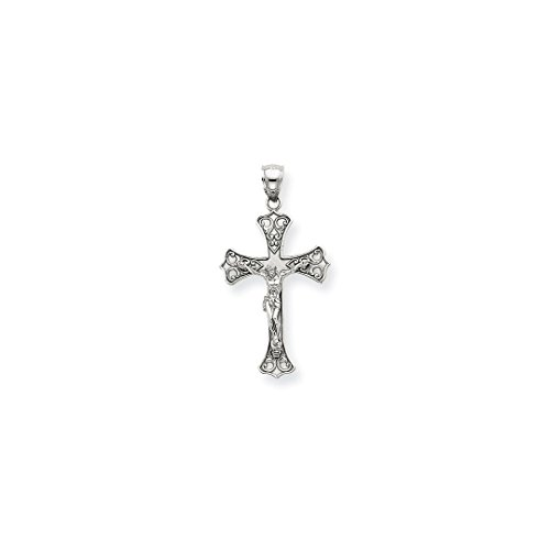 ICE CARATS 14kt White Gold Crucifix Cross Religious Pendant Charm Necklace Fleur De Lis Fine Jewelry Ideal Gifts For Women Gift Set From Heart (White Gold Cross Charm Pendant)