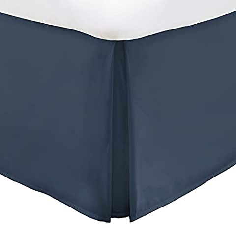 Italian Luxury Hotel Collection Bed Skirt with 14-inch Drop - Double Brushed Microfiber Pleated Dust Ruffle -Navy - Full