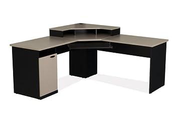 sand granite u0026 charcoal corner lshaped computer desk