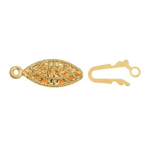 Filigree Clasp (22K Gold Plated Filigree Pearl Clasps 7mm x 14mm (20)