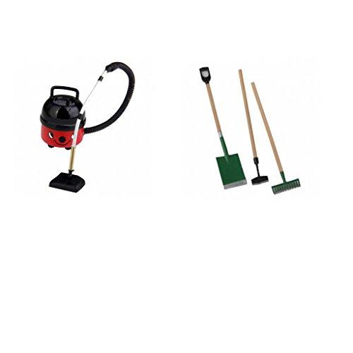 Homyl 3 Piezas Herramientas de Jardín + Aspiradora de Plástico en Miniaturas para 1/12 Casa de Muñeca