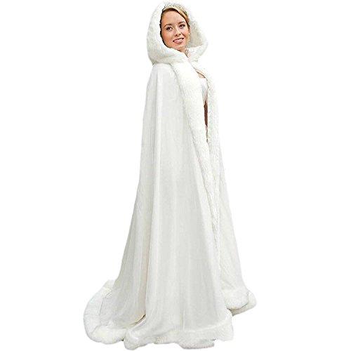 Zechun Women's Winter Hooded Cloak Wedding Bridal Christmas Fur Shawls Coat-XXXL by Zechun