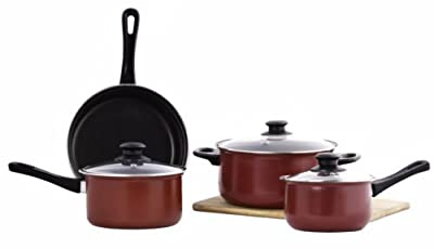 Imperial Home 7 Piece Non-Stick Cookware Set with Glass Lids - Red