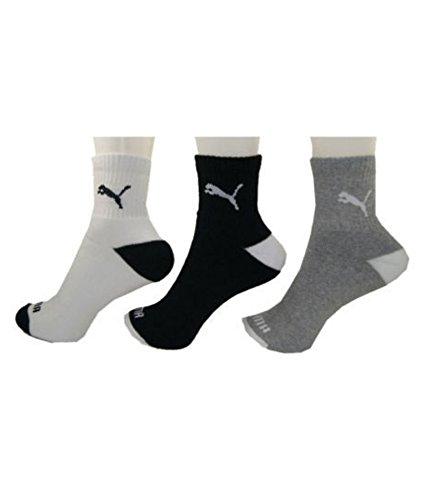 Puma 91073901 Sports Quarter Socks  White/Black/Grey