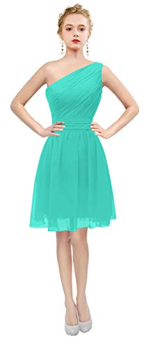 (ThaliaDress Short One Shoulder Bridesmaid Evening Dresses Prom Gowns T195LF Turquoise US17W)