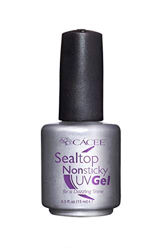 Seal Top Non-sticky Gel Topcoat for Artificial Nails, Finishing Sealer for Acrylic Nails, Builder Gel, Silk Wrap Nails, and Fiberglass Nails, Glass-like Shine, UV + LED by Cacee (0.5 Ounce)