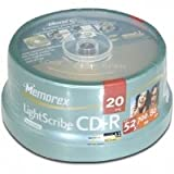 20PK MEMOREX CDR 80MIN 52X LIGHTSCRIBE SPINDLE (46558L) Category: CD Media
