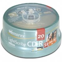 20PK MEMOREX CDR 80MIN 52X LIGHTSCRIBE SPINDLE (46558L) Category: CD Media by Imation