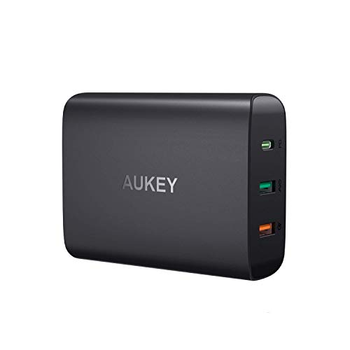 AUKEY USB C Charger, 74.5W 3-Port Wall Charger with 46W Power Delivery 3.0 & Quick Charge 3.0, Compatible MacBook, iPad Pro, iPhone Xs/XS Max/XR, Samsung Galaxy S9 / S9+ / Note9, and More